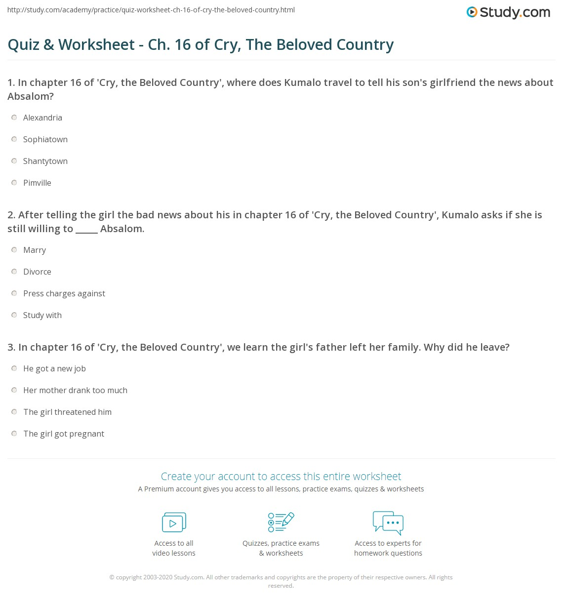 Quiz & Worksheet - Ch  16 of Cry, The Beloved Country