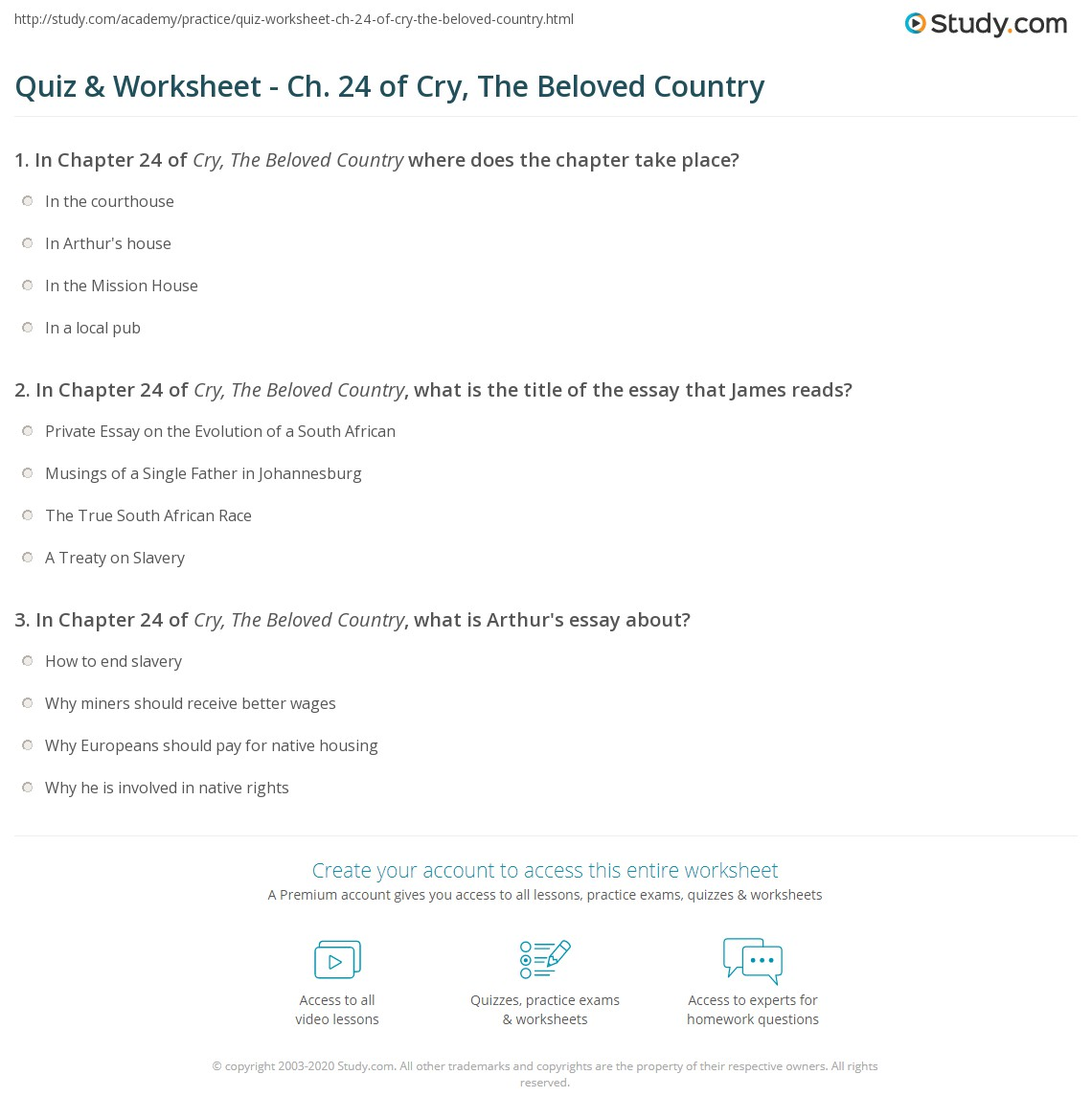 Quiz & Worksheet - Ch. 24 of Cry, The Beloved Country | Study.com