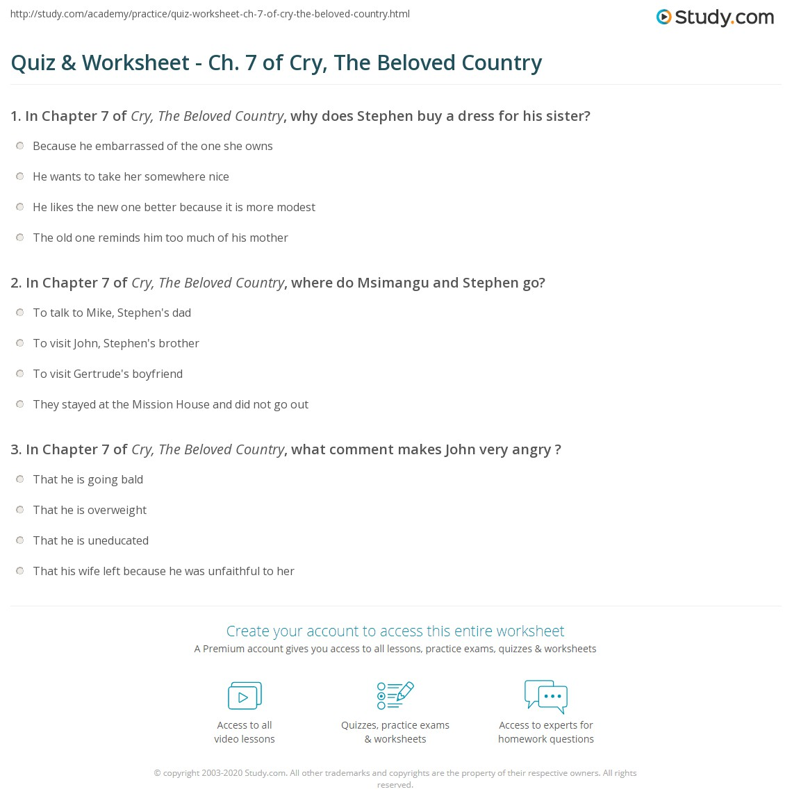 Quiz & Worksheet - Ch  7 of Cry, The Beloved Country | Study com