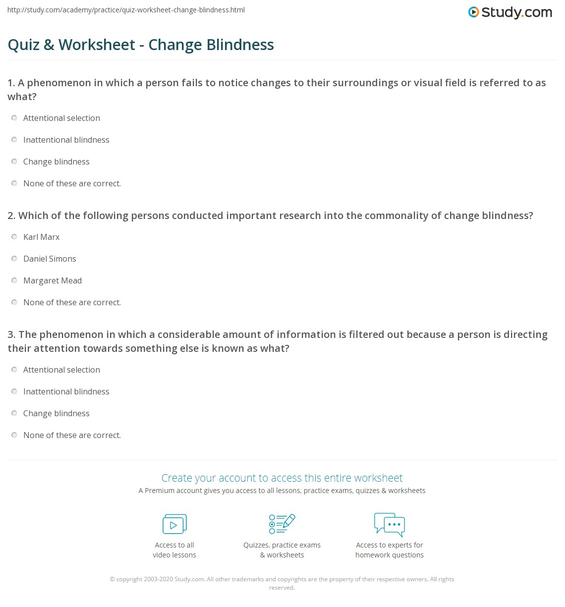 Quiz Worksheet Change Blindness Study Com