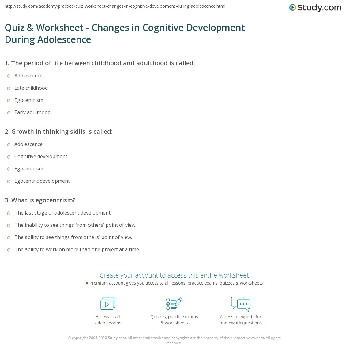quiz worksheet changes in cognitive development during  print changes in cognitive development during adolescence worksheet