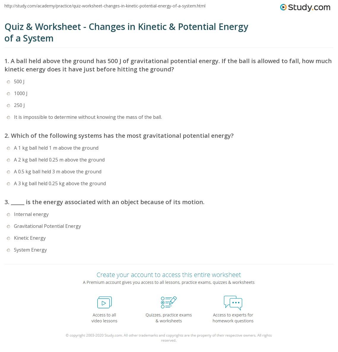 Quiz & Worksheet - Changes in Kinetic & Potential Energy of ...