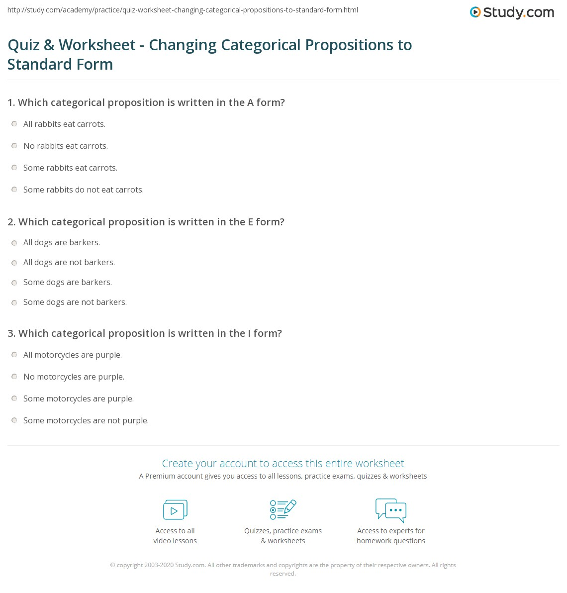Quiz Worksheet Changing Categorical Propositions To Standard