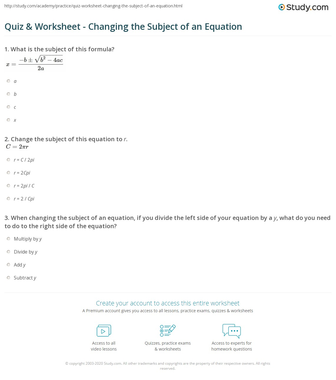 Quiz & Worksheet - Changing the Subject of an Equation | Study.com