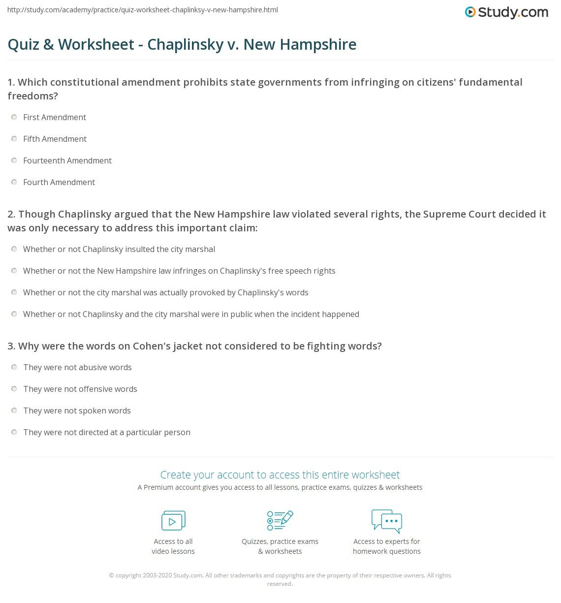 chaplinsky v new hampshire
