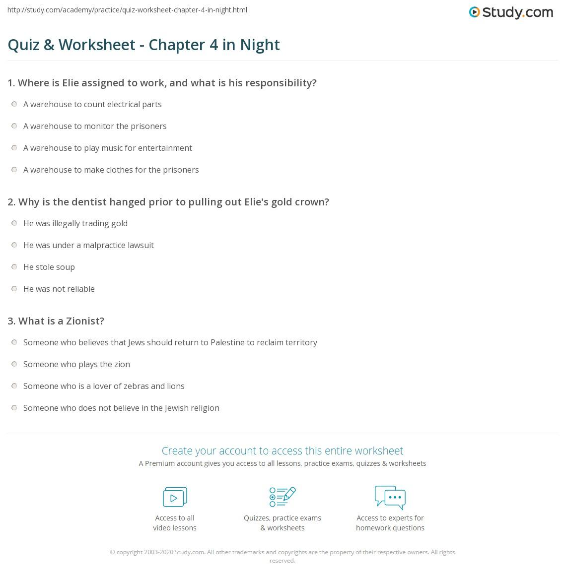 Answers To Night Worksheet - ora-exacta.co