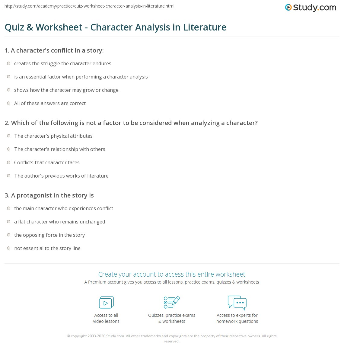 what is a character analysis example