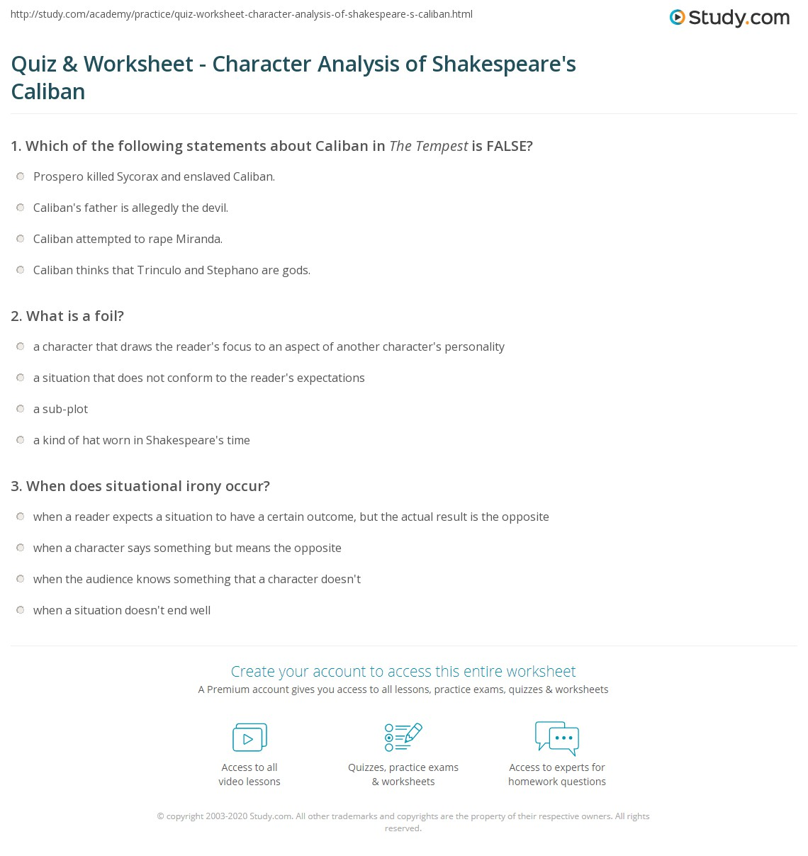 worksheet Foil Worksheets quiz worksheet character analysis of shakespeares caliban print overview worksheet