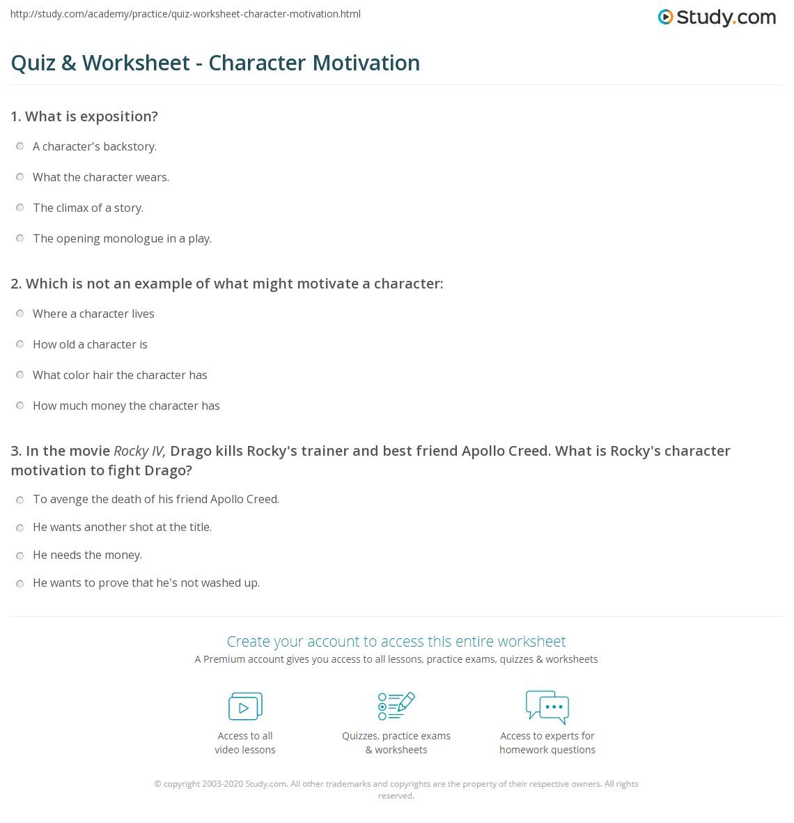 Quiz Worksheet Character Motivation Study