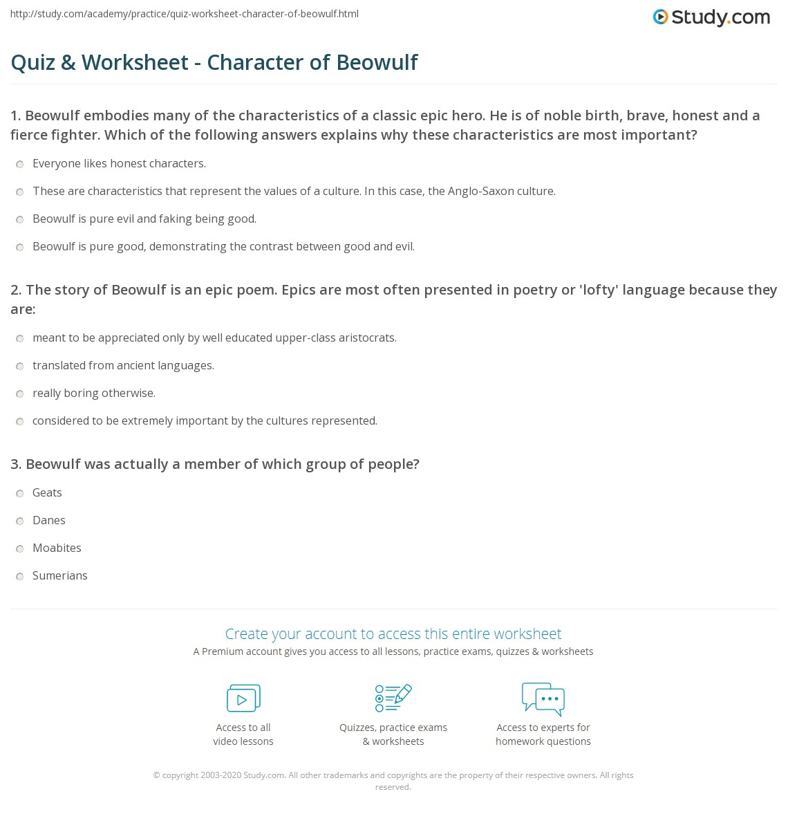 an analysis of the character of beowulf in the story of beowulf Quizlet provides beowulf study guide activities,  in what country does the action of the story take  what is a literary character that embodies the values.