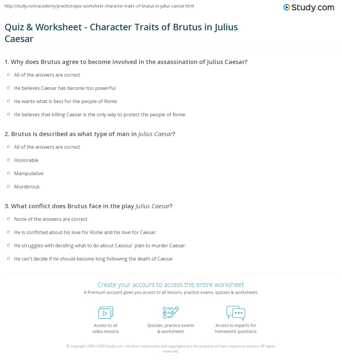 quiz worksheet character traits of brutus in julius caesar. Black Bedroom Furniture Sets. Home Design Ideas