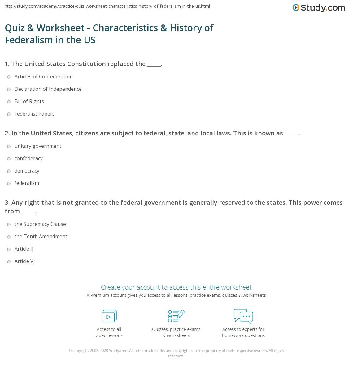 Quiz & Worksheet - Characteristics & History of Federalism ...