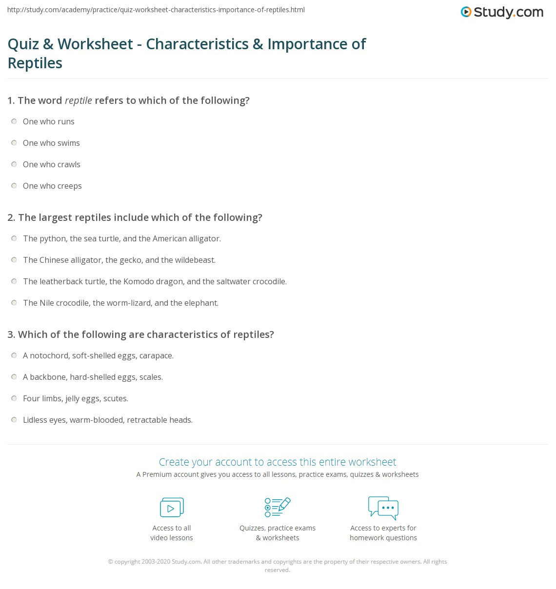 Quiz Worksheet Characteristics Importance of Reptiles – Reptile Worksheets