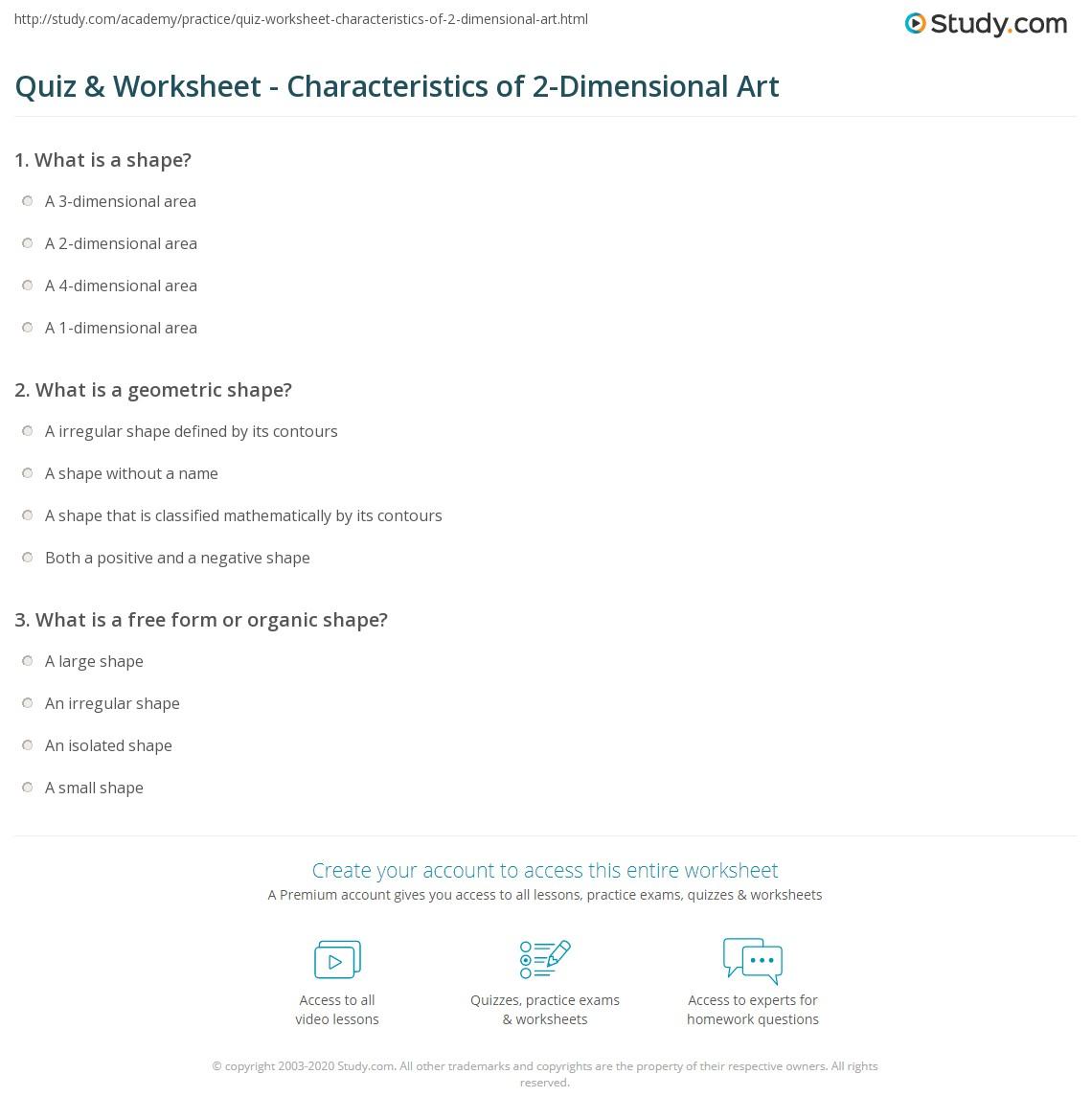 quiz & worksheet - characteristics of 2-dimensional art | study