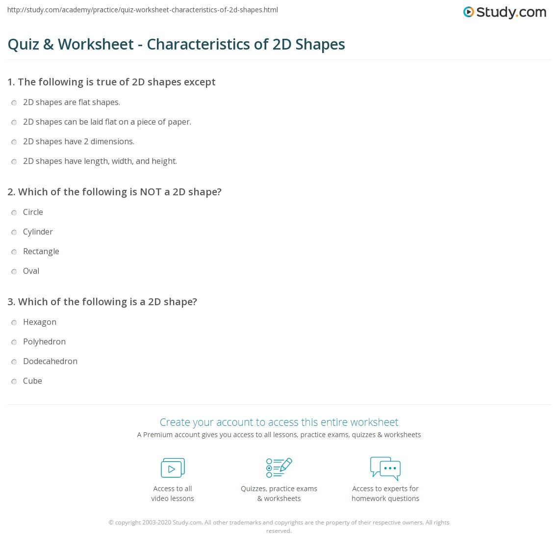 worksheet 2d Shapes Worksheet quiz worksheet characteristics of 2d shapes study com print what are definition examples worksheet