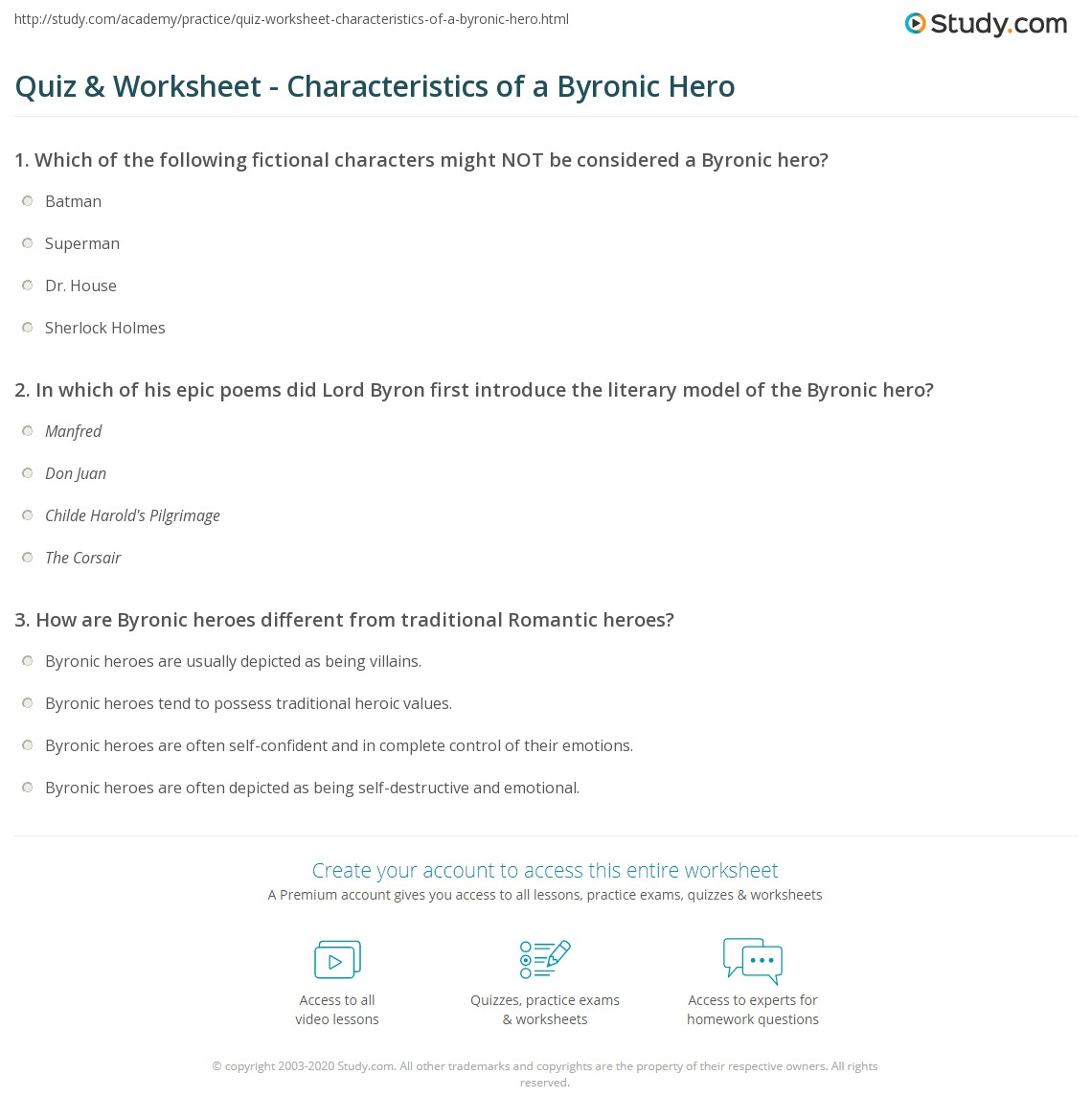 Byronic Hero Traits Quiz Worksheet Characteristics Of A Byronic Hero