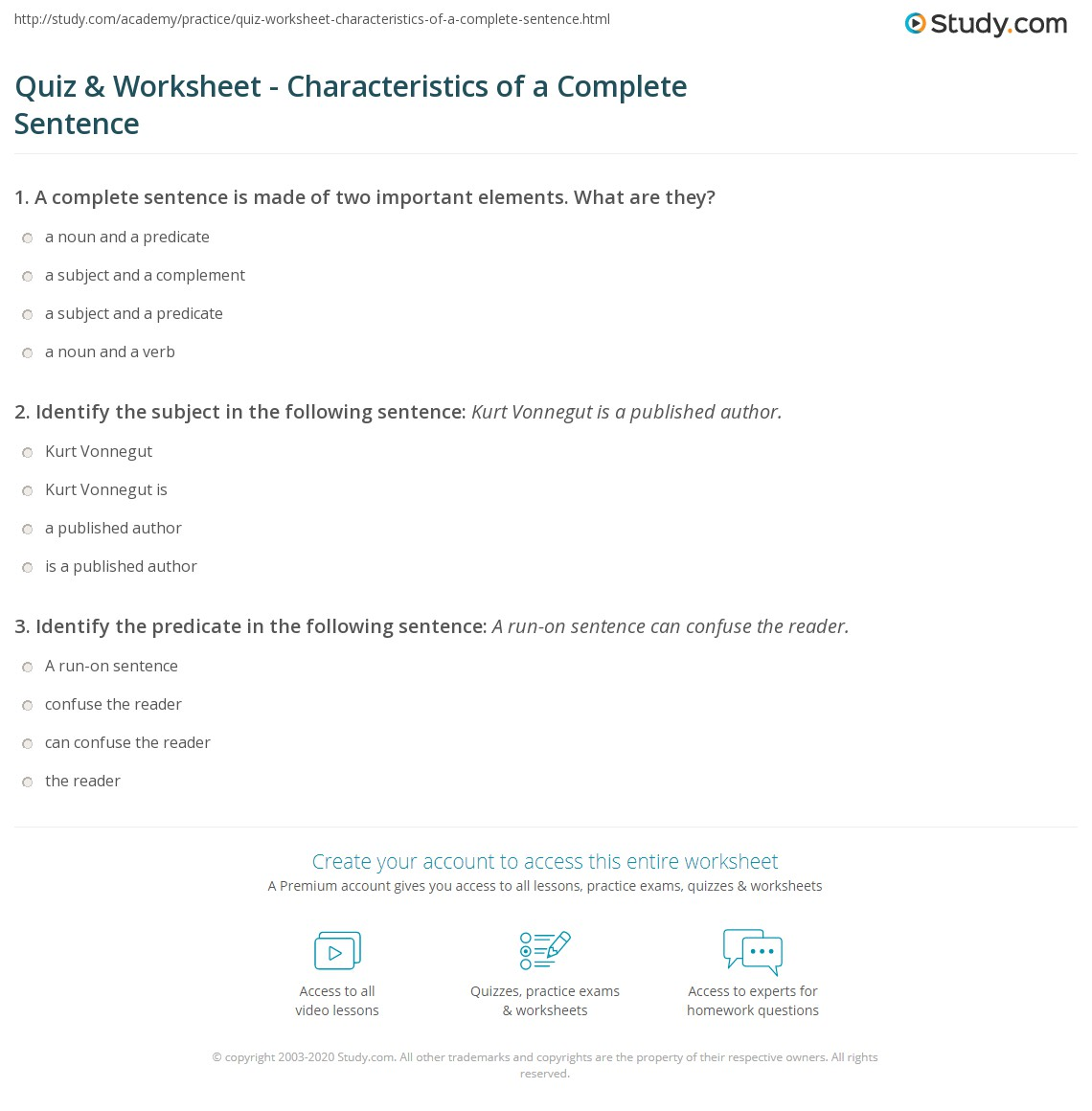 Quiz Worksheet Characteristics of a Complete Sentence – Complete Sentence Worksheet