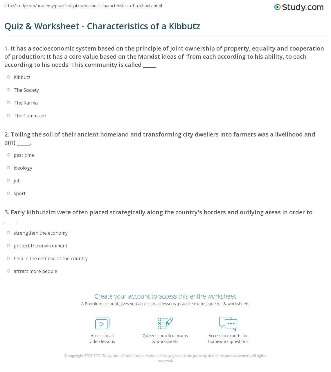 Worksheets Core Values Worksheet quiz worksheet characteristics of a kibbutz study com print definition overview worksheet