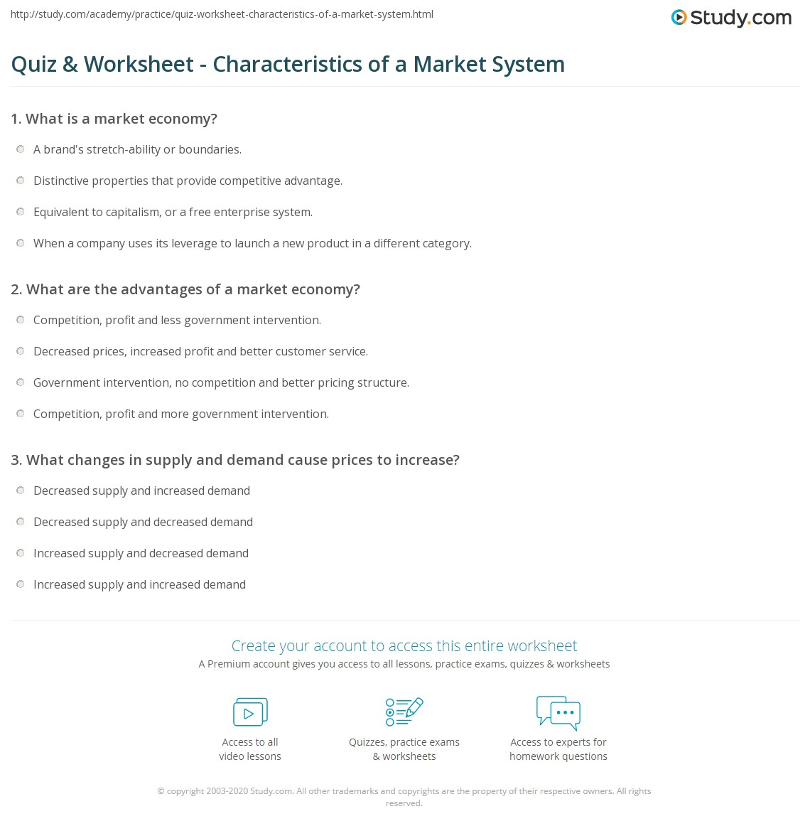 worksheet Supply And Demand Worksheet quiz worksheet characteristics of a market system study com print the in economics definition advantages worksheet