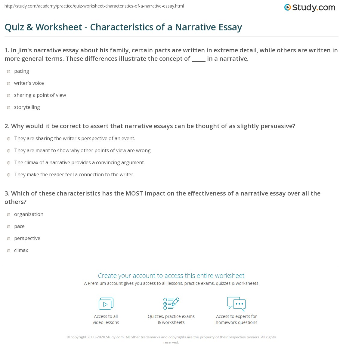 Narrative essay test