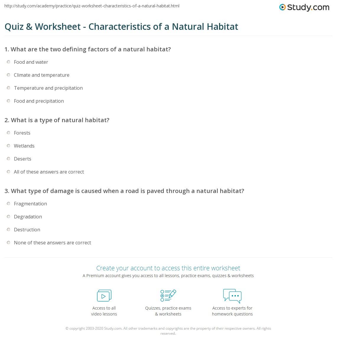 worksheet Habitat Worksheet quiz worksheet characteristics of a natural habitat study com print what is definition destruction worksheet