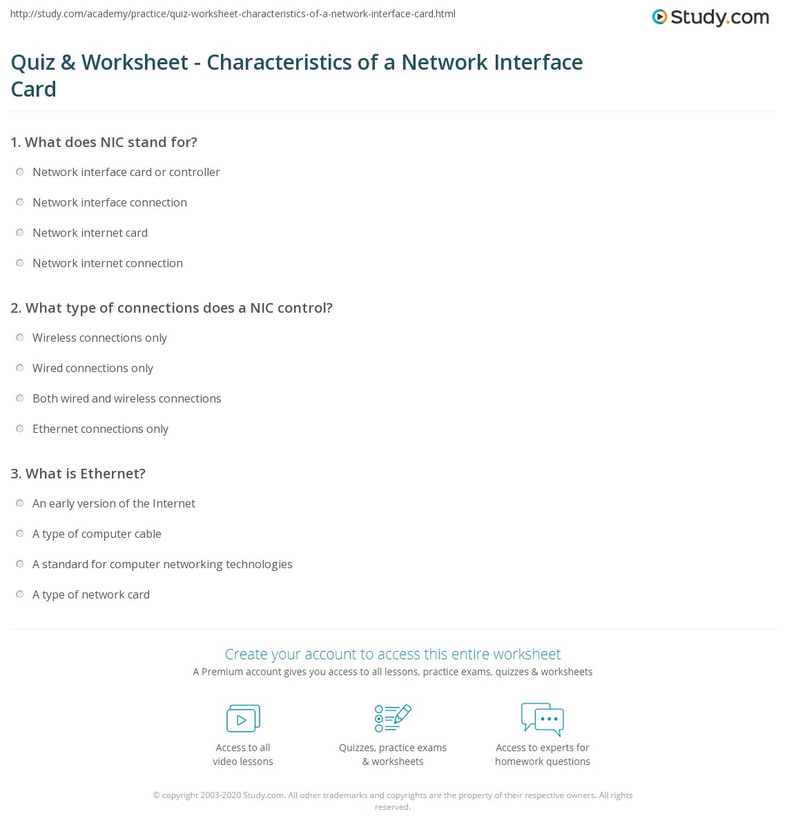 Quiz & Worksheet - Characteristics of a Network Interface Card ...