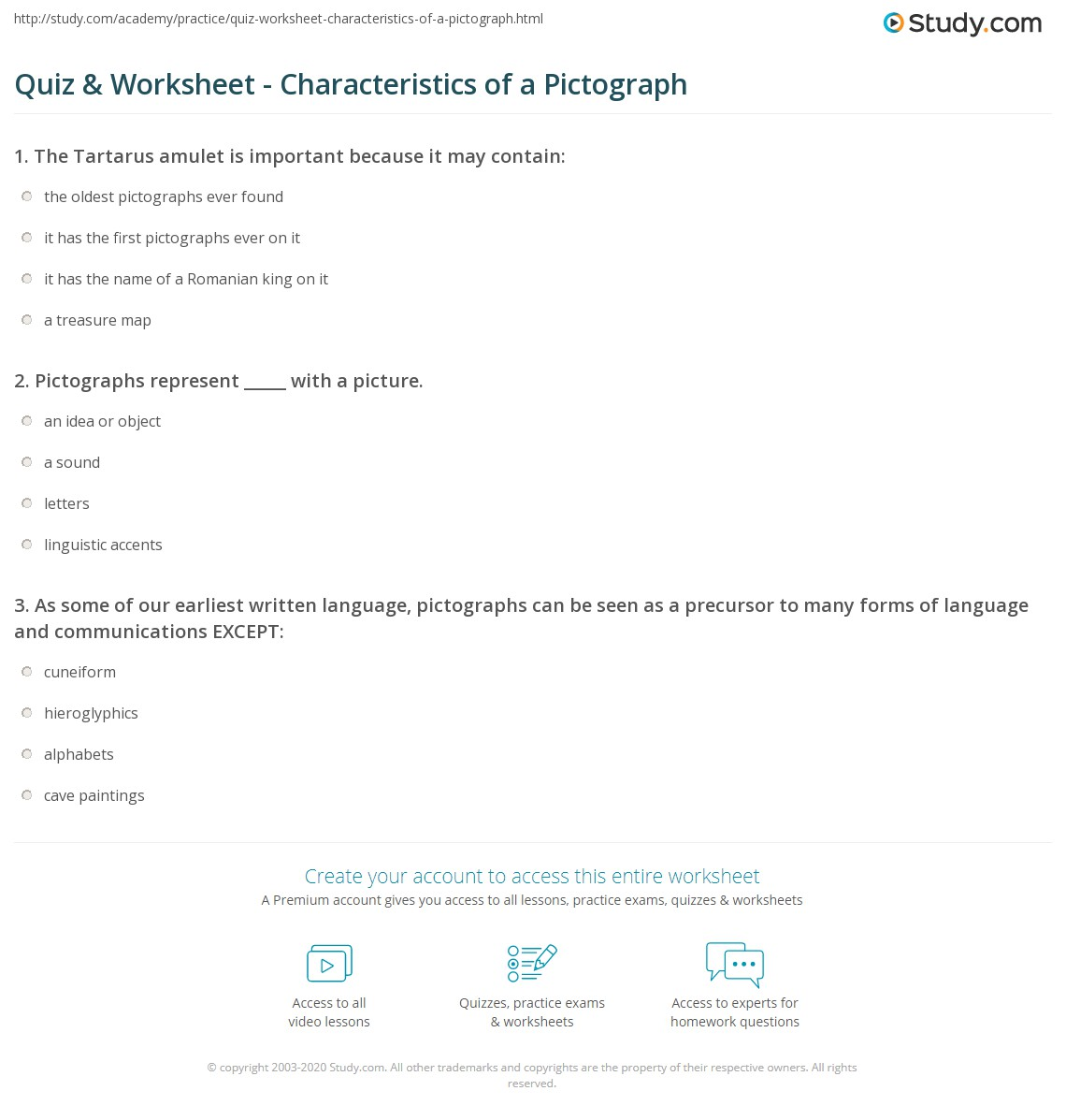 Worksheets Pictograph Worksheets quiz worksheet characteristics of a pictograph study com print definition examples images worksheet