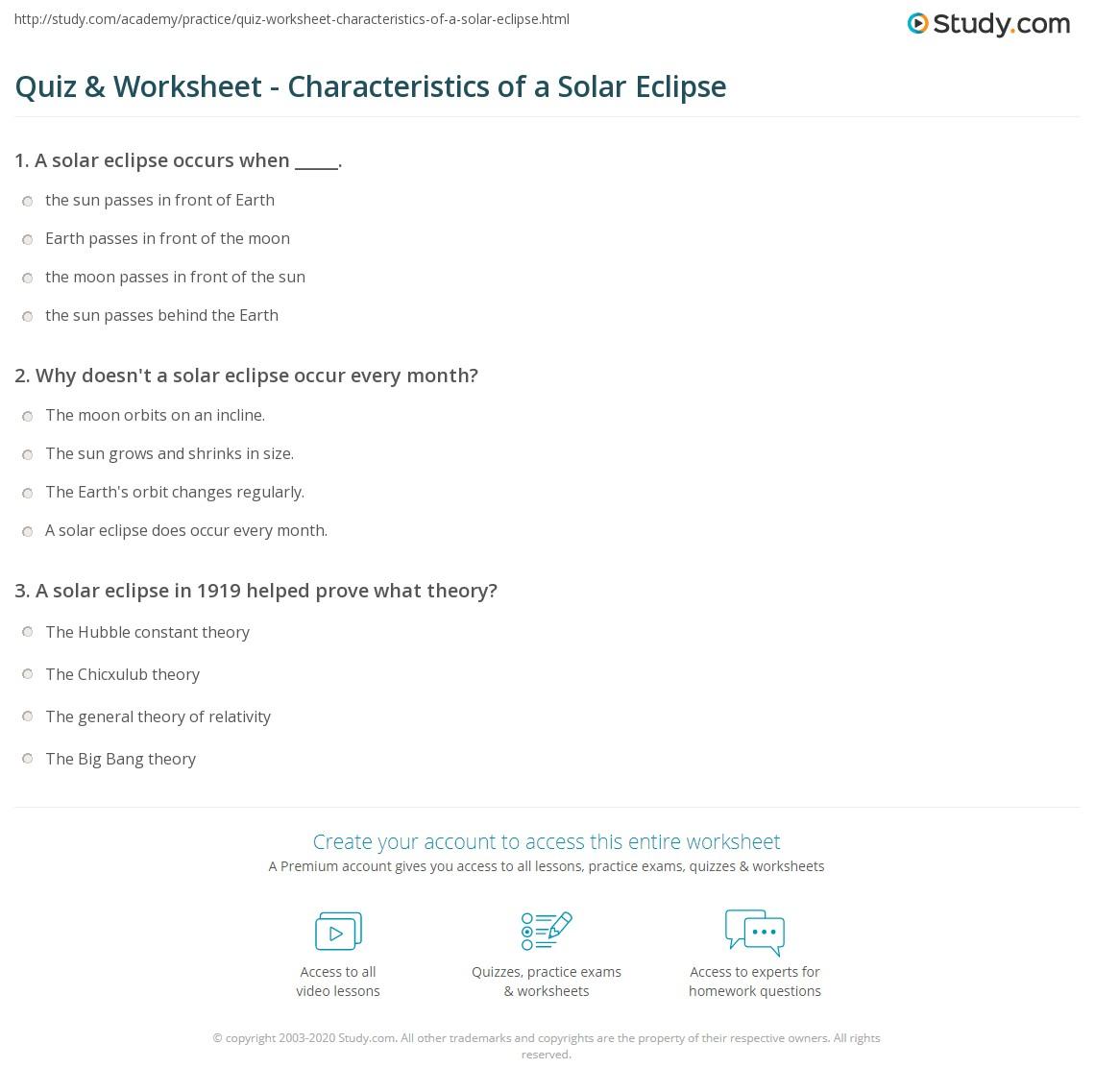 Quiz & Worksheet - Characteristics of a Solar Eclipse | Study.com