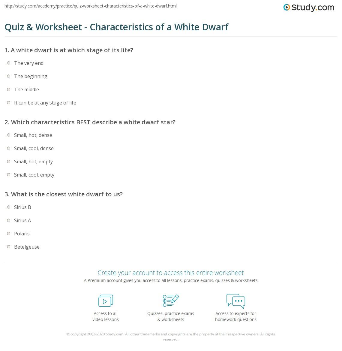 Quiz & Worksheet - Characteristics of a White Dwarf ...