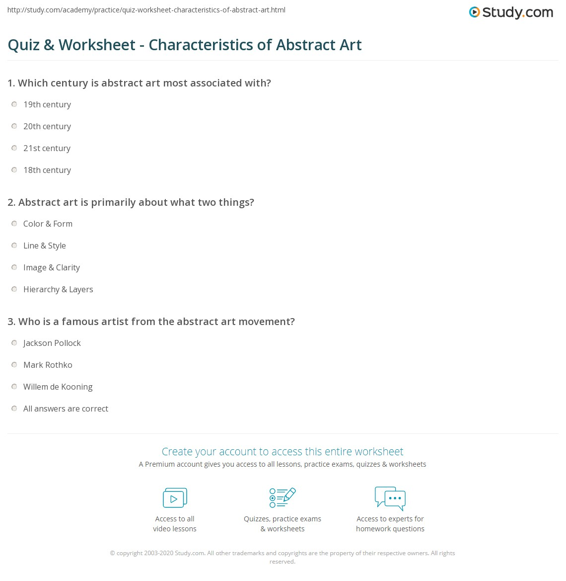 worksheet Art Analysis Worksheet quiz worksheet characteristics of abstract art study com print what is definition techniques types paintings worksheet