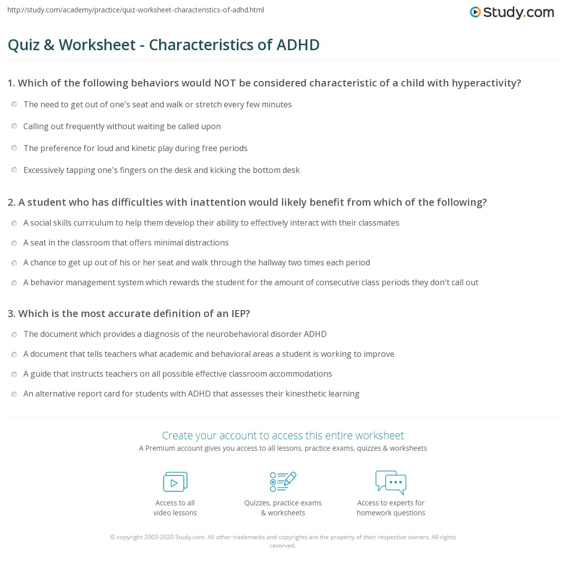 quiz & worksheet - characteristics of adhd | study