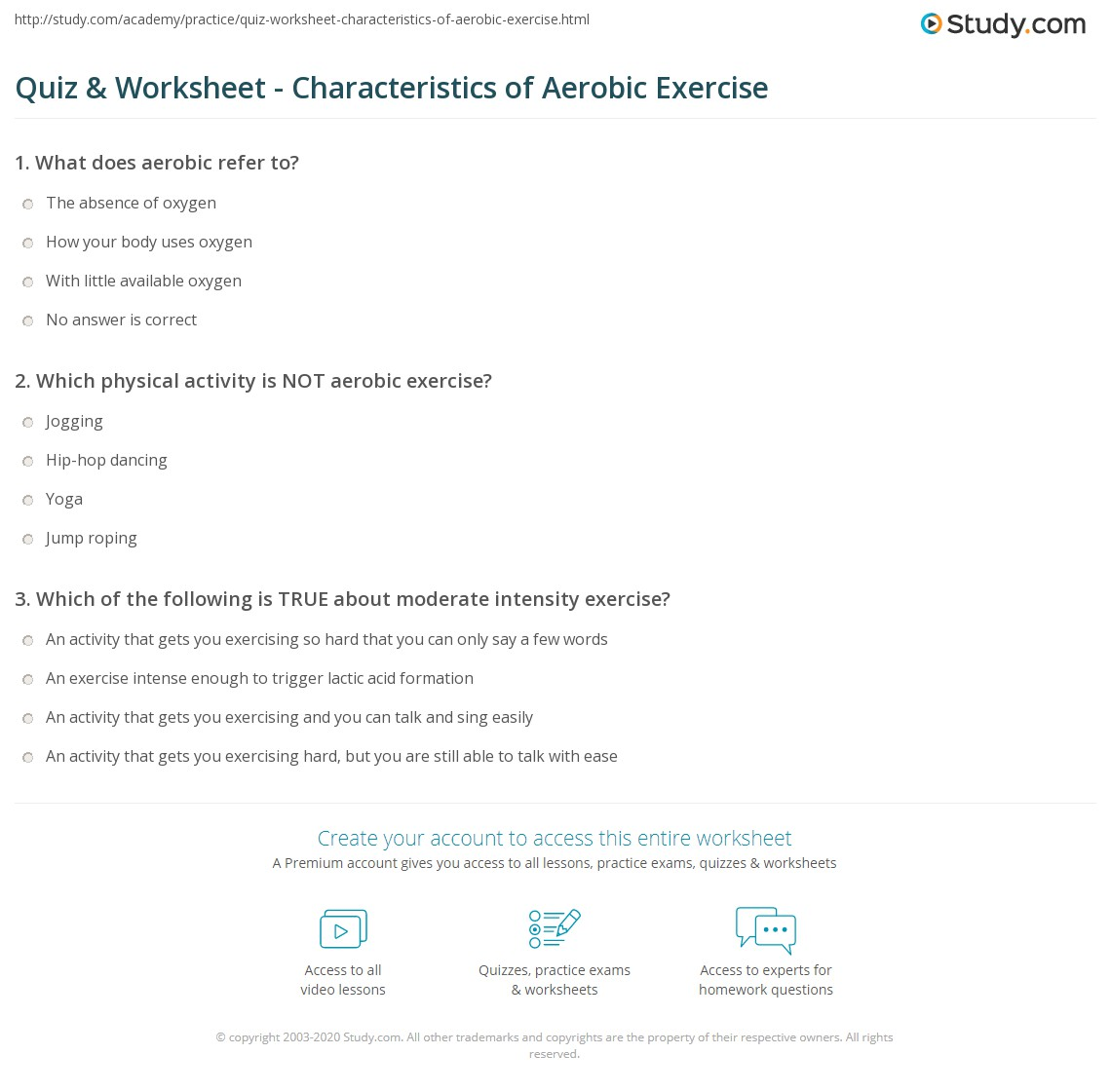 quiz worksheet characteristics of aerobic exercise. Black Bedroom Furniture Sets. Home Design Ideas