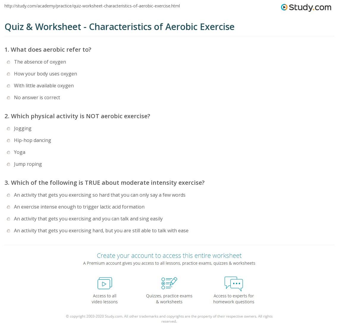 Quiz Worksheet Characteristics Of Aerobic Exercise Study