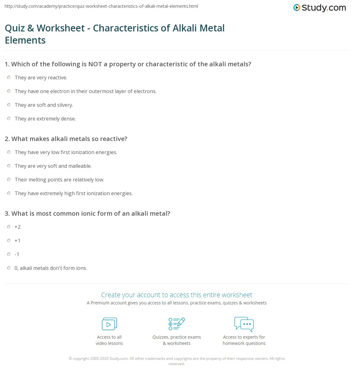 print alkali metal elements properties characteristics reactions worksheet - Periodic Table Alkali Metals Reactivity