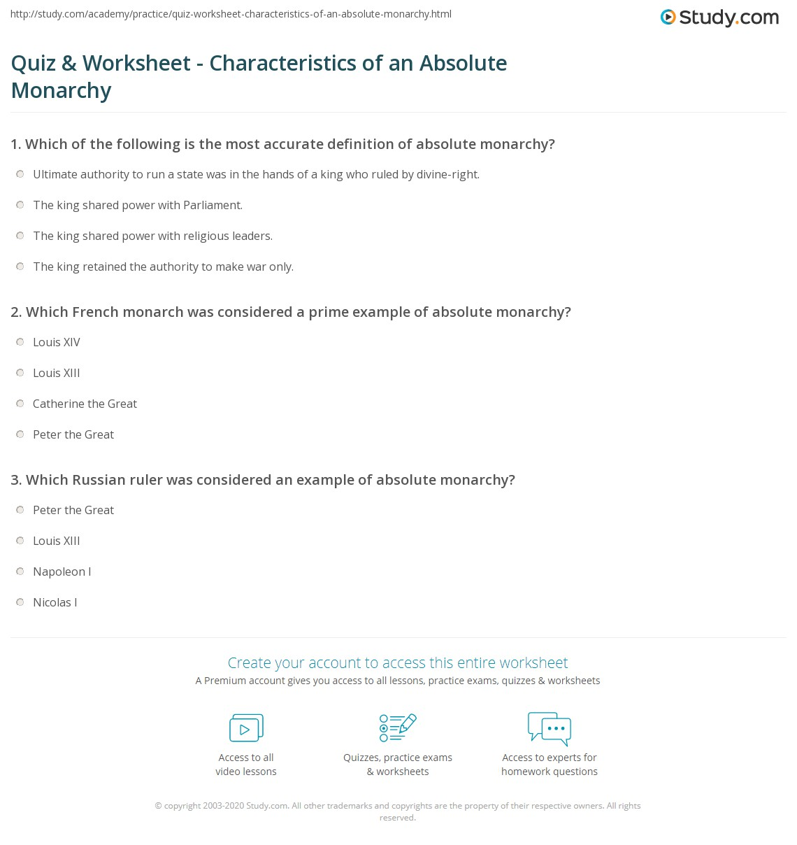 Quiz Worksheet Characteristics Of An Absolute Monarchy Study