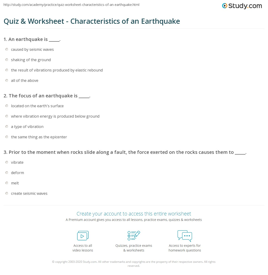 Quiz & Worksheet Characteristics of an Earthquake