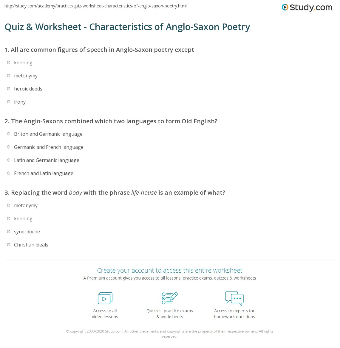 quiz worksheet characteristics of anglo saxon poetry. Black Bedroom Furniture Sets. Home Design Ideas