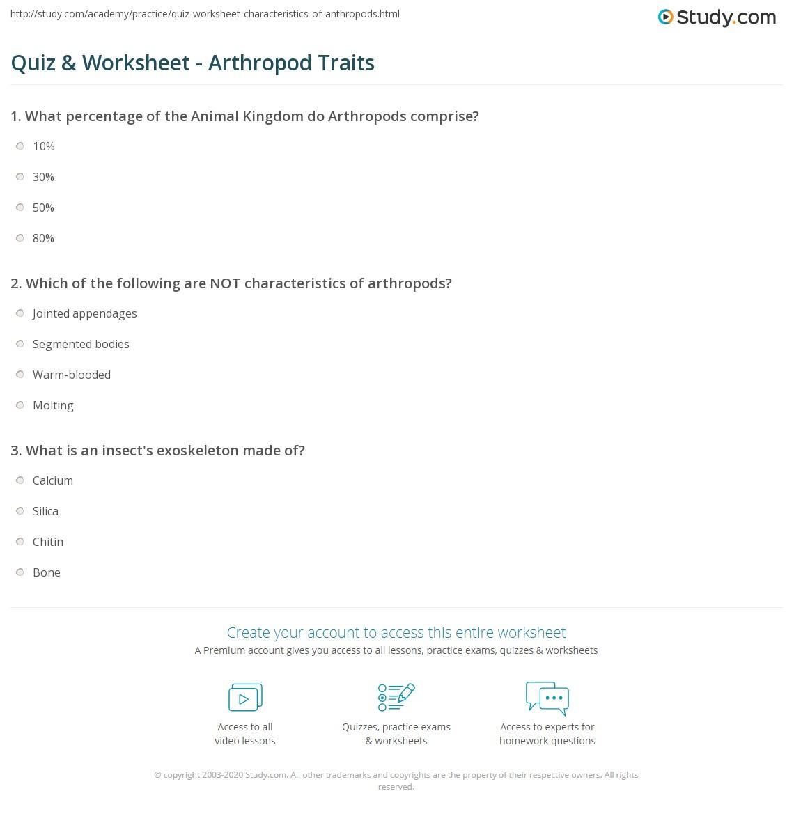 quiz worksheet arthropod traits study com rh study com Mollusks Characteristics Characteristics of Crustaceans