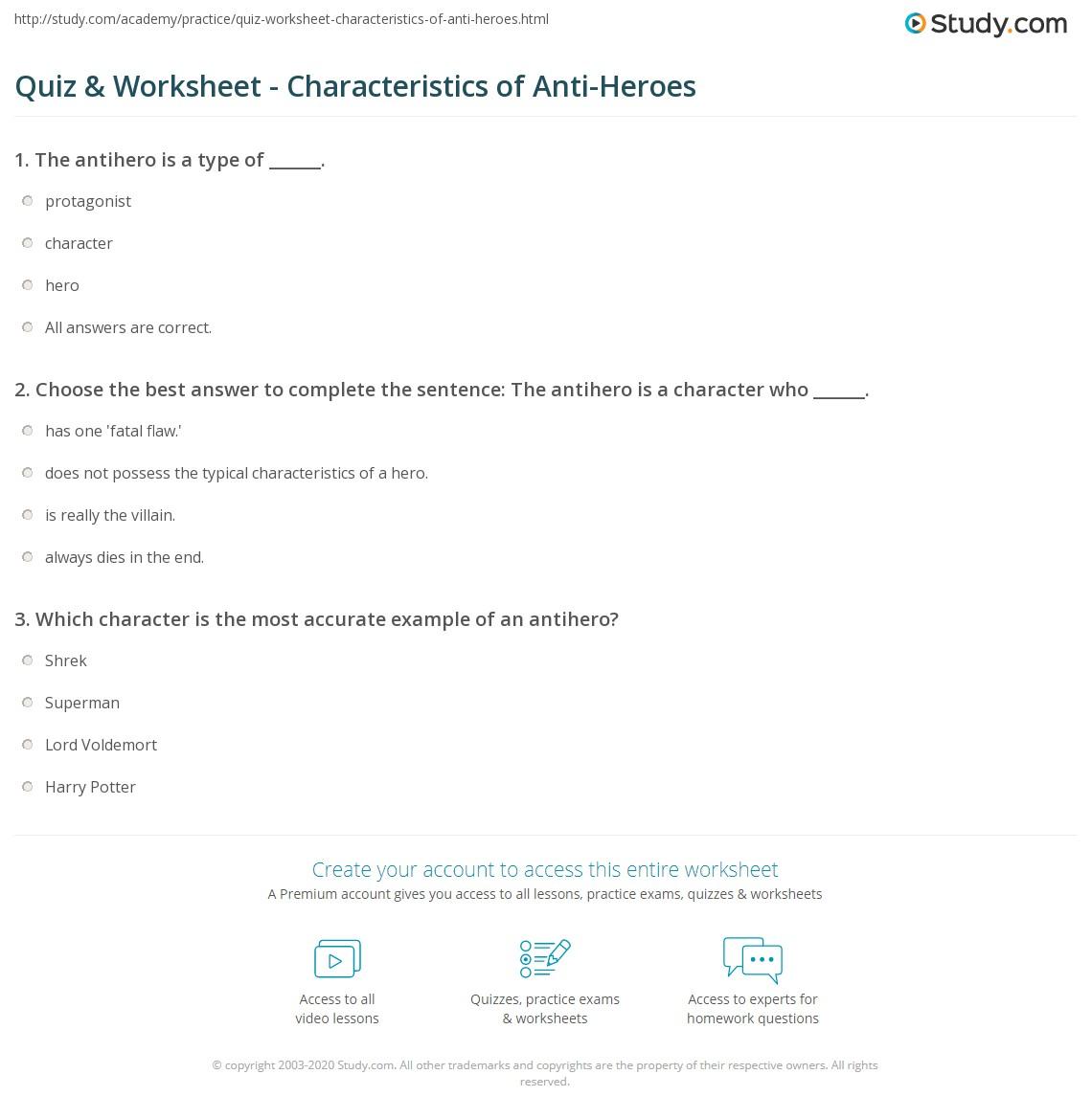 Quiz Worksheet Characteristics Of Anti Heroes Study