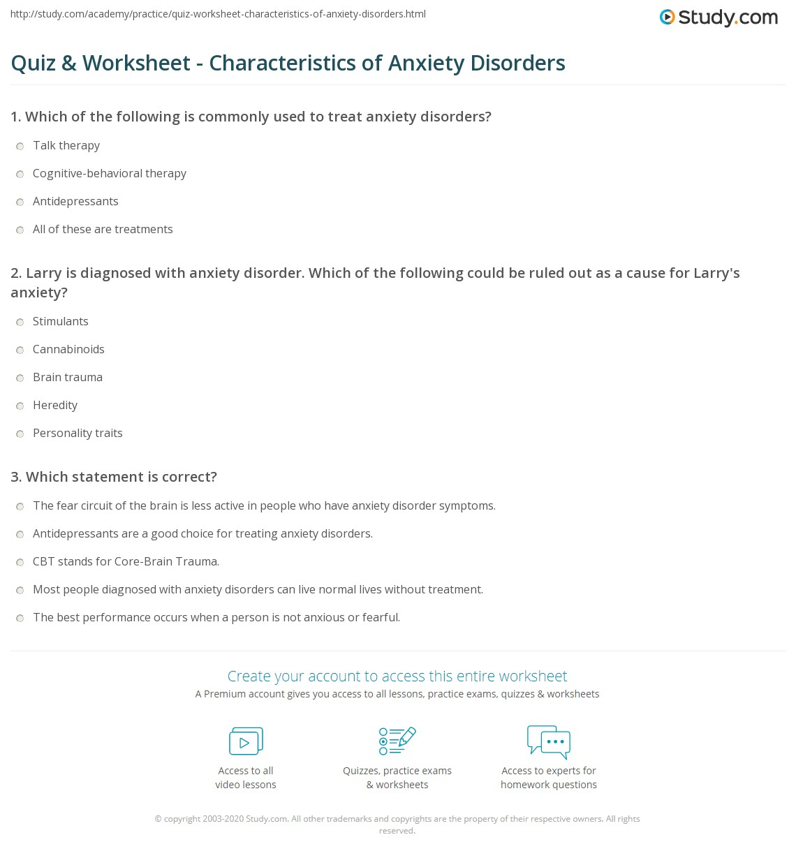 quiz & worksheet - characteristics of anxiety disorders | study
