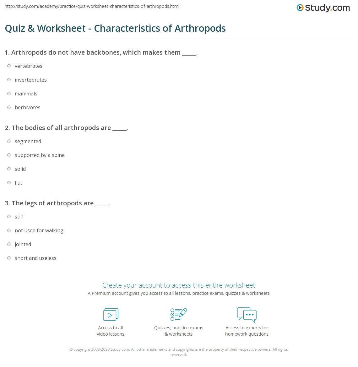 quiz worksheet characteristics of arthropods. Black Bedroom Furniture Sets. Home Design Ideas