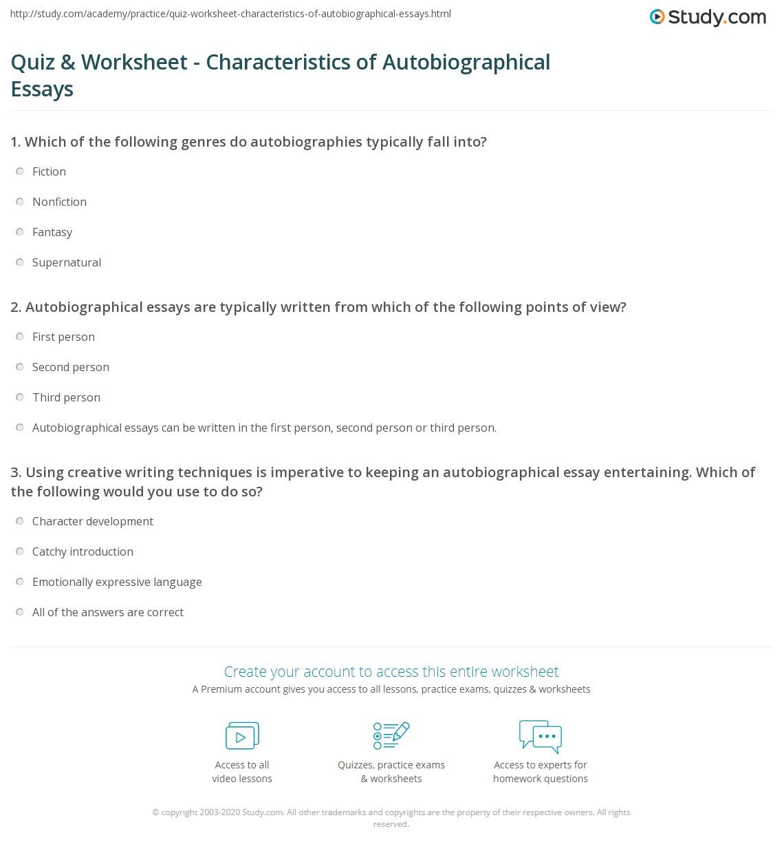 quiz worksheet characteristics of autobiographical essays print what is an autobiographical essay definition examples worksheet