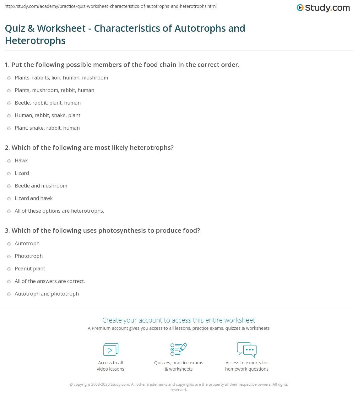 worksheet Autotrophs Vs Heterotrophs Worksheet quiz worksheet characteristics of autotrophs and heterotrophs print worksheet
