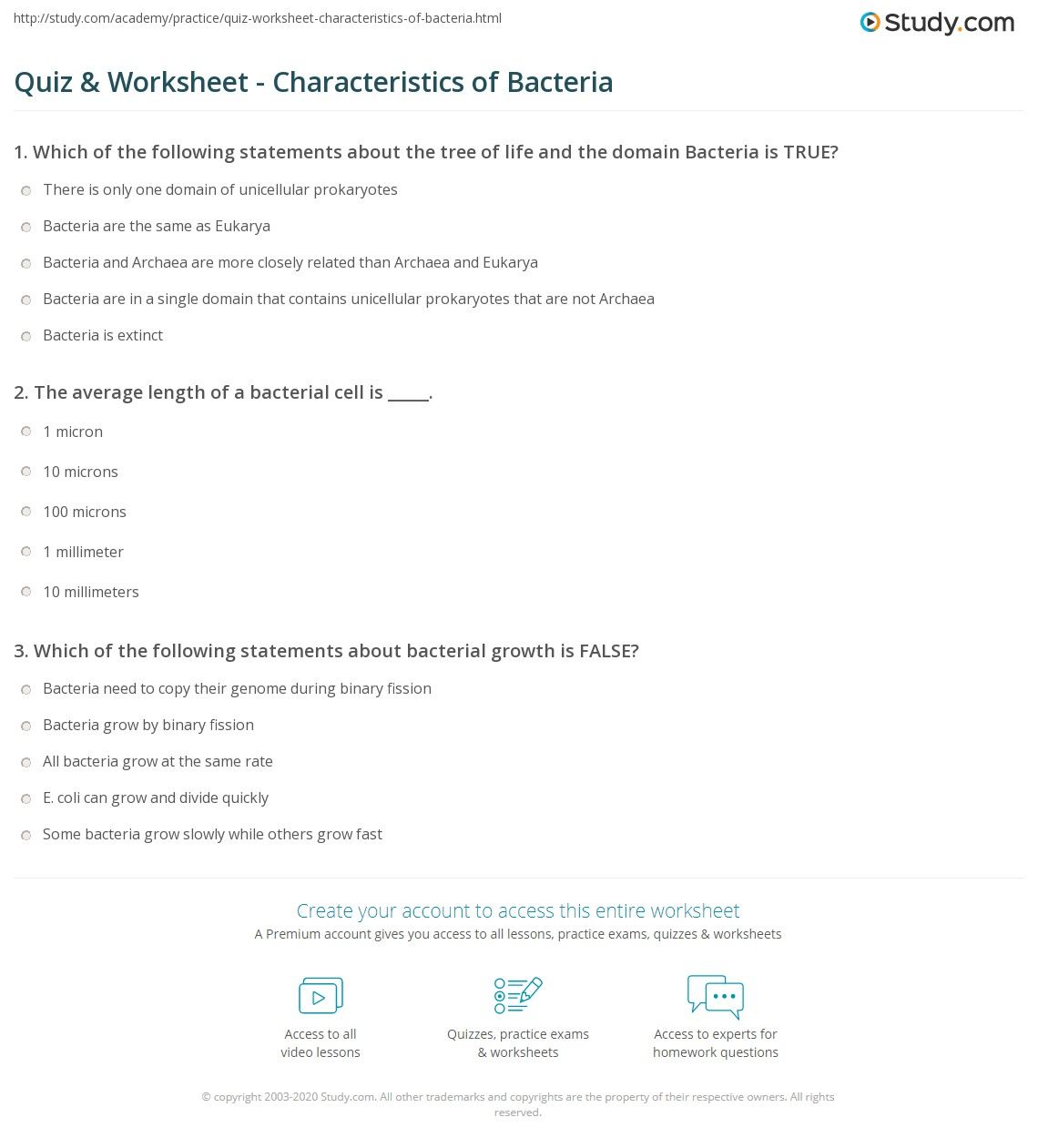 Worksheets Bacteria Worksheet quiz worksheet characteristics of bacteria study com print what is definition examples worksheet