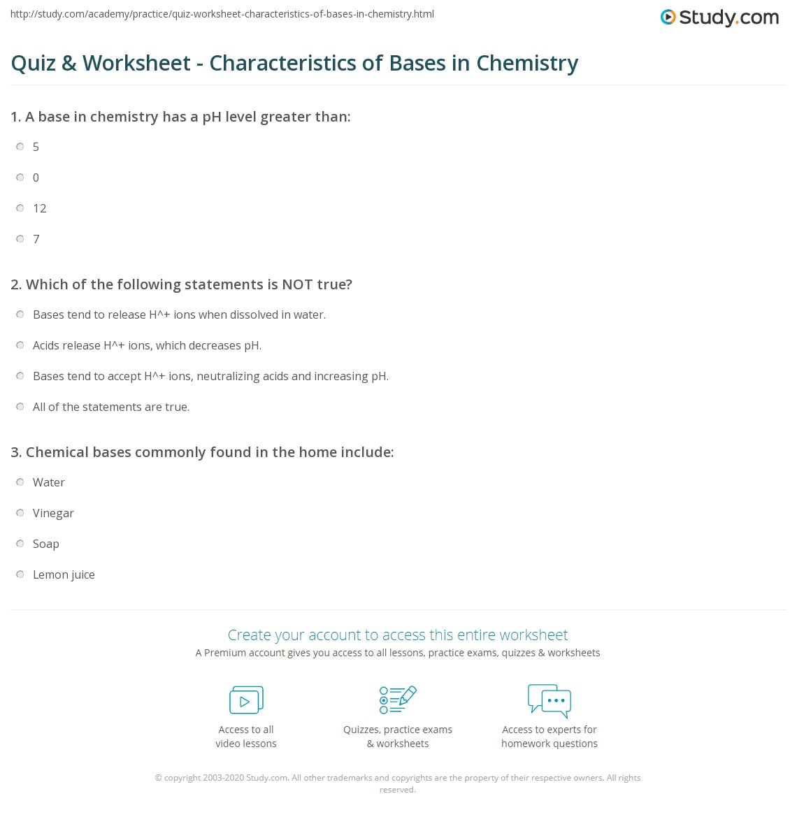 Quiz Worksheet Characteristics of Bases in Chemistry – Ph Calculations Worksheet