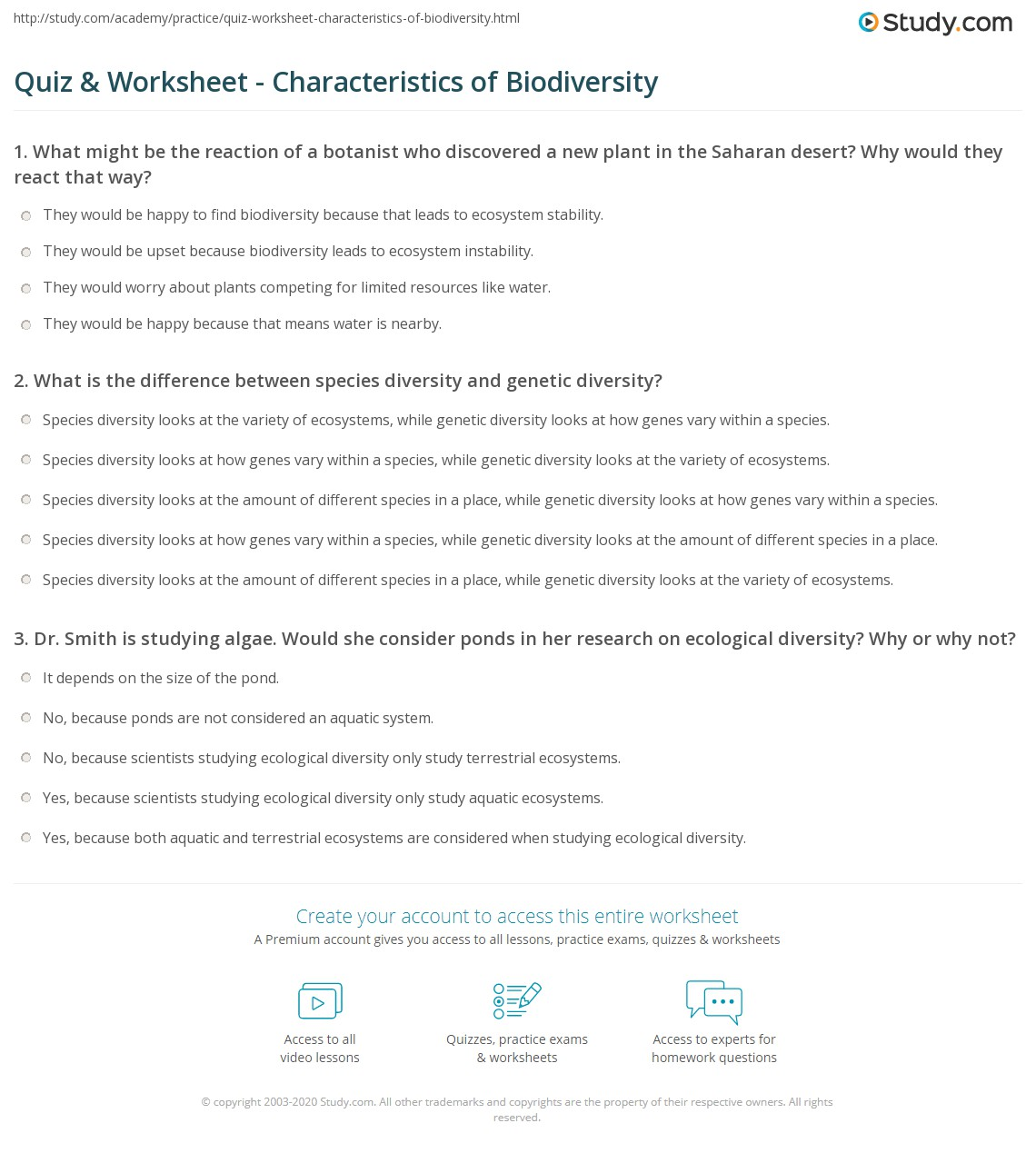 picture about Biodiversity Printable Worksheets titled Quiz Worksheet - Features of Biodiversity