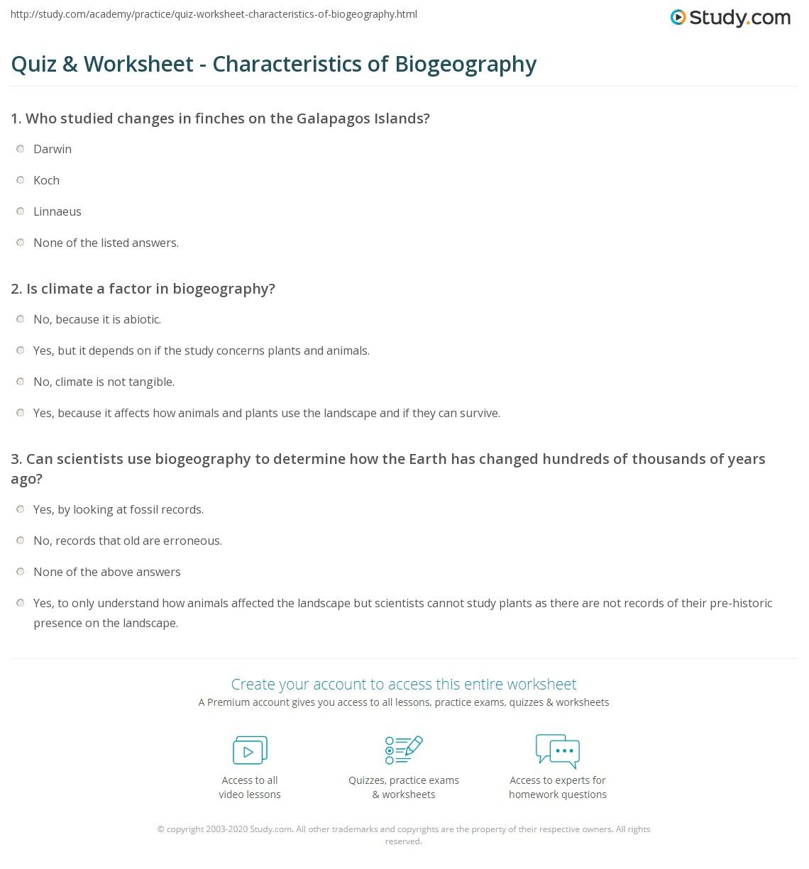 Worksheets Environmental Science Worksheets quiz worksheet characteristics of biogeography study com print definitions examples worksheet