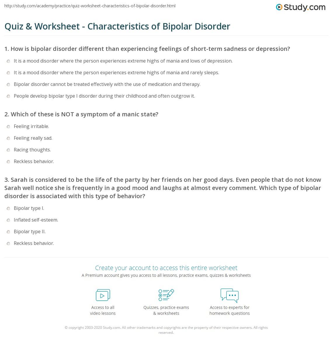 Worksheets Bipolar Disorder Worksheets quiz worksheet characteristics of bipolar disorder study com print what is symptoms treatment worksheet