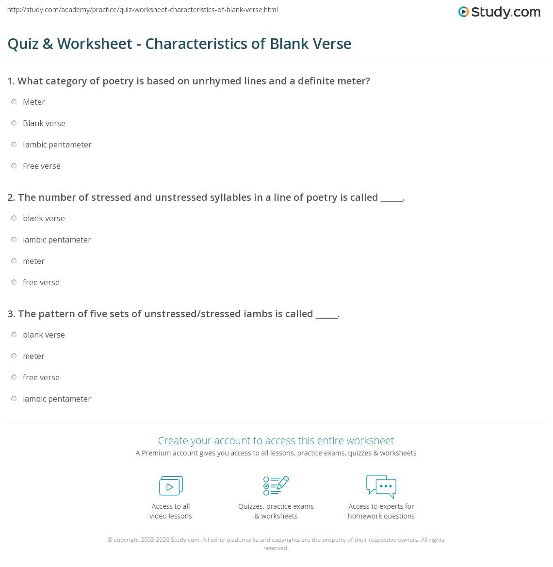 Quiz Worksheet Characteristics Of Blank Verse Study