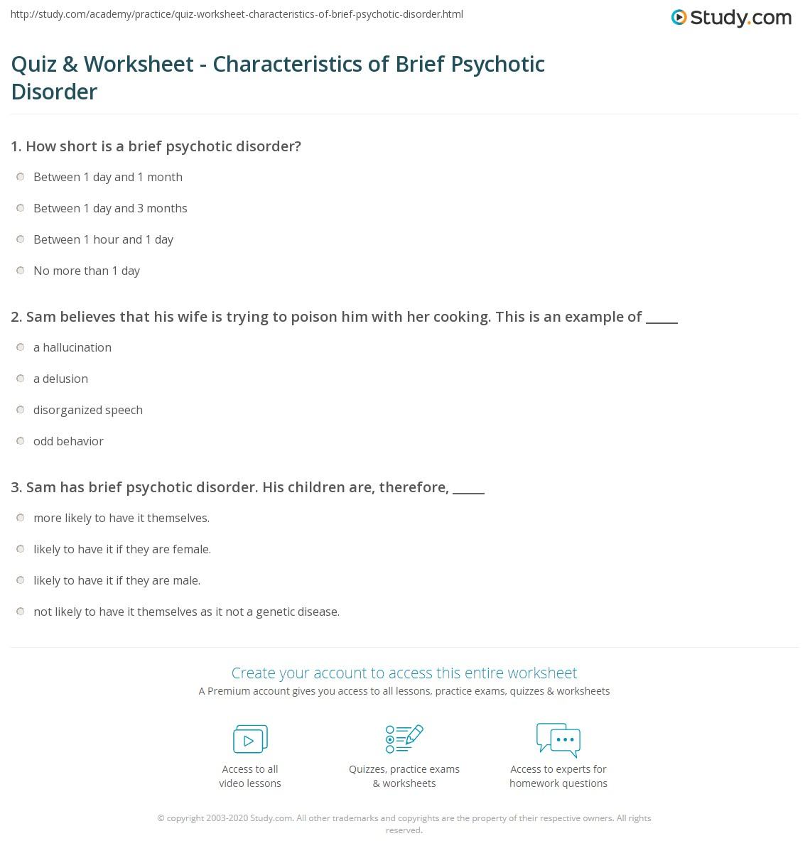 Quiz Worksheet Characteristics Of Brief Psychotic Disorder